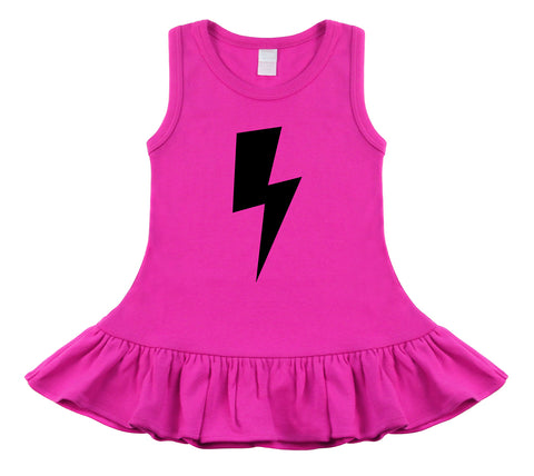 Lightning Bolt Hot Pink & Black Sleeveless Dress