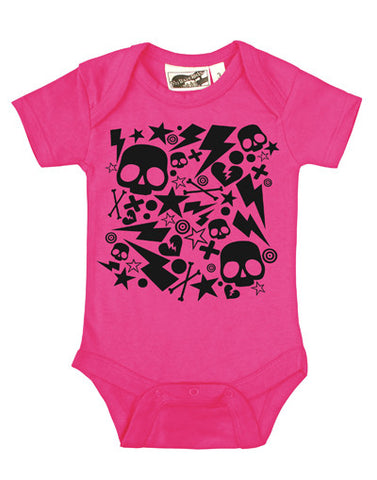 Bolts & Skulls Hot Pink & Black One Piece