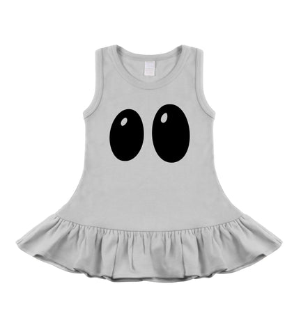 Boo! Ghostie Eyes Halloween White Sleeveless Dress