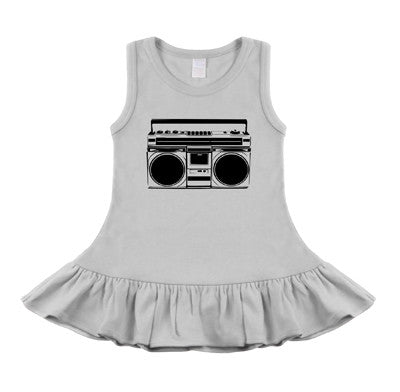 Boombox White & Black Sleeveless Dress