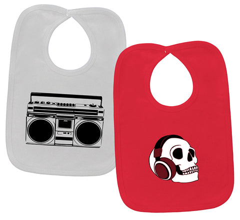 Boombox & Headphone Skull 2 Bib Gift Set