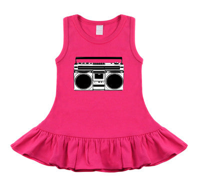 Boombox Hot Pink, Black & White Sleeveless Dress