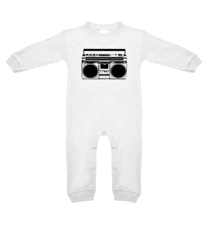Boombox White Long Sleeve Romper