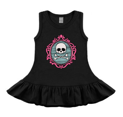 Cameo Skull Black & Pink Sleeveless Dress
