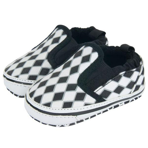 White & Black Diamond Checker Slip On Shoes