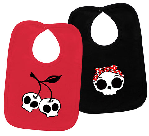 Cherry Skull & Rockabilly Skull 2 Red & Black Bib Gift Set