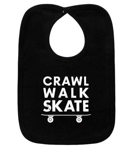 Crawl Walk Skate Black Bib