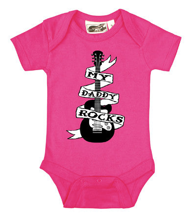 Daddy Rocks Guitar Tattoo Hot Pink One Piece