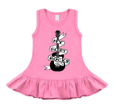 Daddy Rocks Guitar Tattoo Bubblegum Pink Sleeveless Dress