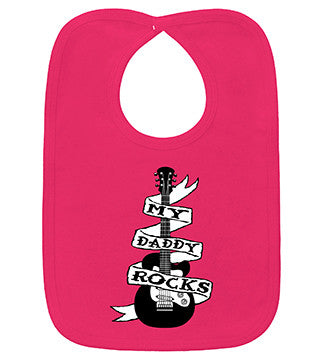 My Daddy Rocks Guitar Tattoo Hot Pink Bib