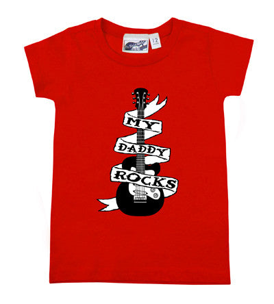 Daddy Rocks Guitar Tattoo Red T-shirt