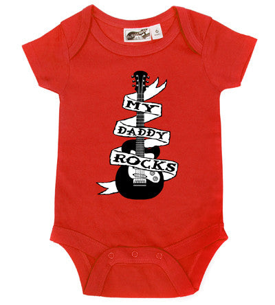 Daddy Rocks Guitar Tattoo Red One Piece