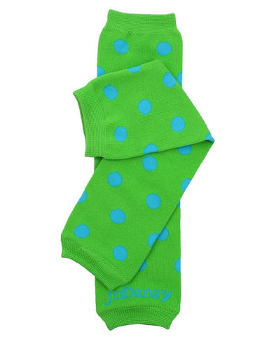 Dapper Dot Organic Green & Blue Polka Dot Leg Warmers