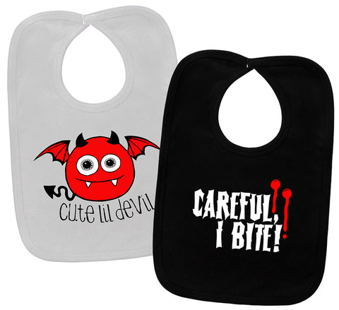 Cute Lil Devil & Careful I Bite White & Black 2 Bib Gift Set