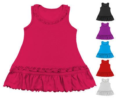 Solid Color Tank Top Ruffle Dress - Choice of colors