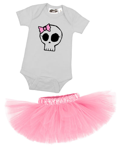 Girly Skull One Piece & Bubblegum Pink Tutu Gift Set
