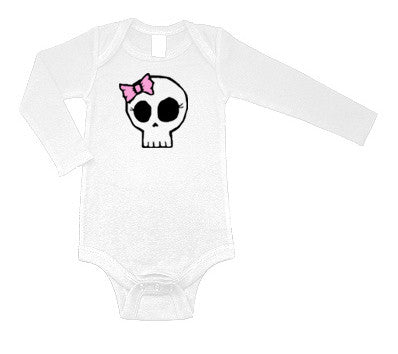 Girly Skull Long Sleeve White One Piece