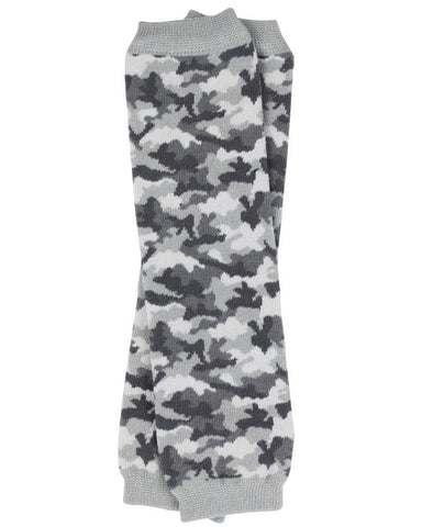 Gray Camouflage Print Leg Warmers