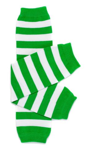 Green & White Stripe Leg Warmers