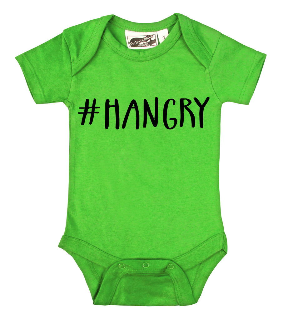 Hangry Hashtag Lime Green Onesie My Baby Rocks