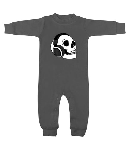 Headphone Skull Charcoal Gray Long Sleeve Romper