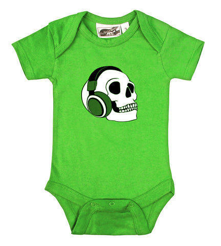 Headphone Skull Lime Green One Piece
