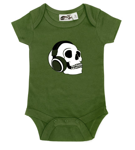 Headphone Skull Olive Green One Piece