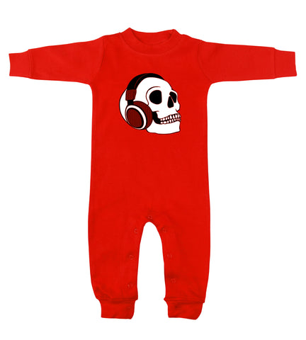 Headphone Skull Red Long Sleeve Romper