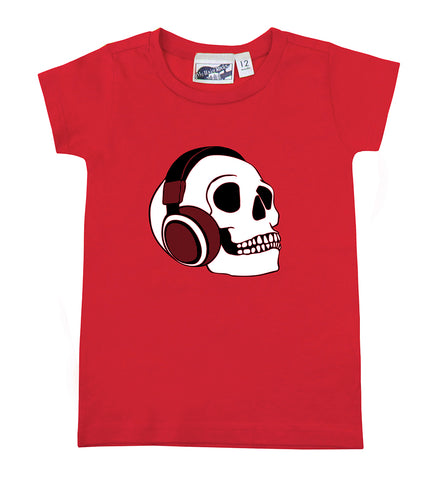 Headphone Skull Red Baby Toddler T-shirt