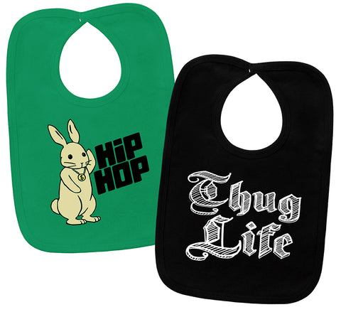 Hip Hop Bunny & Thug Life Green & Black 2 Bib Gift Set