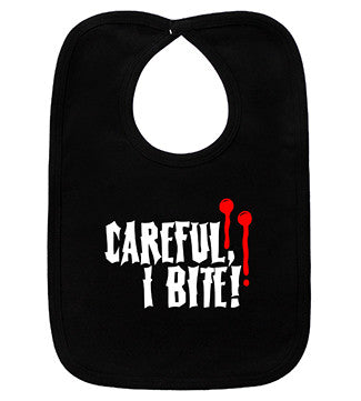 Careful, I Bit Vampire Black Bib
