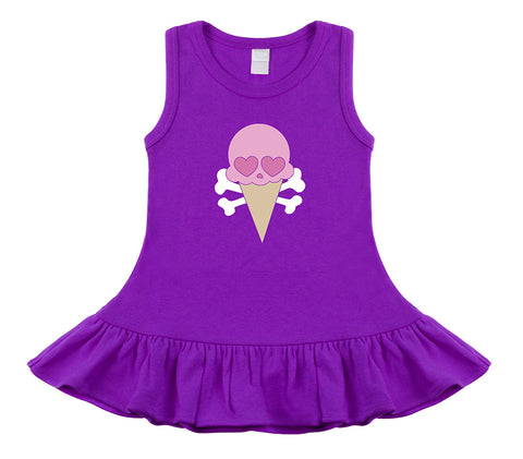 Ice Cream Cone Skull Purple Sleeveless Dress