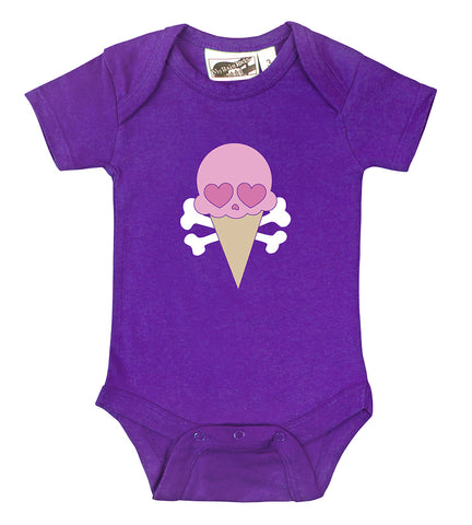 Ice Cream Cone Skull Purple One Piece