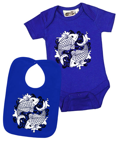 Koi Tattoo Royal Blue & Black One Piece & Bib 2 Piece Gift Set