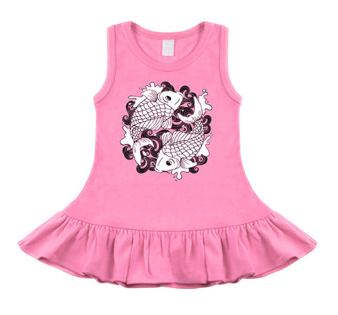 Koi Tattoo Bubblegum Pink & Black Sleeveless Dress