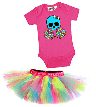 Lollipop Skull Candy Girl One Piece & Tutu Set