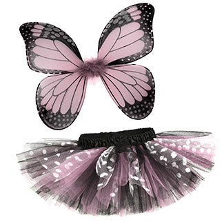 Lt Pink Butterfly Tutu & Wings Costume Set