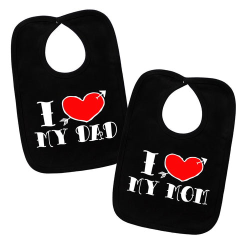 I Love My Mom & Dad Tattoo Black 2 Bib Gift Set