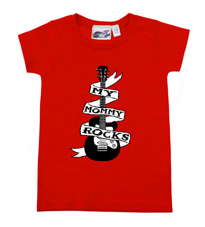 Mommy Rocks Guitar Tattoo Red T-shirt