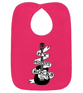 My Mommy Rocks Guitar Tattoo Hot Pink Bib