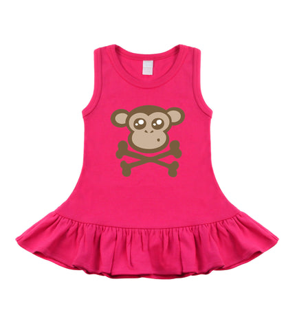 Monkey Crossbones Hot Pink Dress