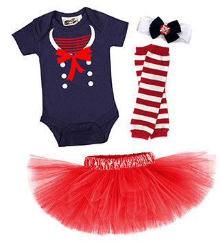 Nautical Darling Sailor 4 Piece Baby Tutu Costume Set