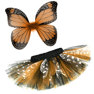 Orange Monarch Butterfly 2 Piece Tutu & Wings Costume Set