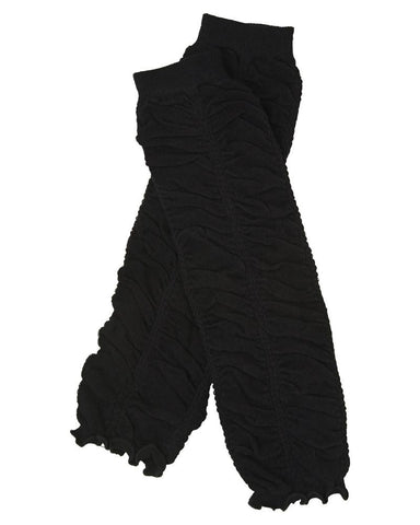 Black Rouched Ruffle Leg Warmers