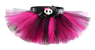 Punk Princess Hot Pink & Black Plaid Skull Tutu