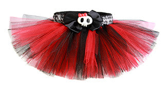 Punk Princess Red & Black Plaid Skull Tutu