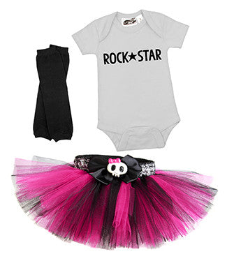 Punk Princess Hot Pink & Black 3 Piece Tutu Costume Set