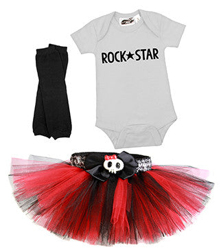 Punk Princess Red & Black Tutu 3 Piece Costume Set