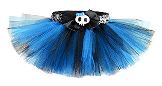 Turquoise & Black Punk Princess Plaid Skull Tutu
