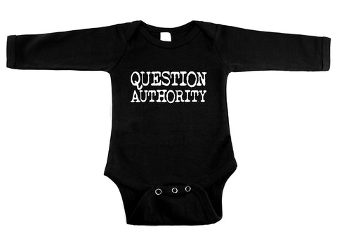 Question Authority Black Long Sleeve One Piece